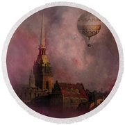 Stockholm Church With Flying Balloon Round Beach Towel
