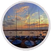 Round Beach Towel featuring the photograph Estuary Evening by Anne Kotan