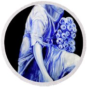 Flower Girl In Blue Round Beach Towel