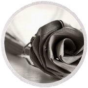 Eternal Rose In Sepia Round Beach Towel