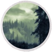 Eternal Shadow Falls  Round Beach Towel