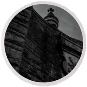 Eternal Stone Structure Bw Round Beach Towel
