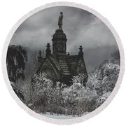 Round Beach Towel featuring the digital art Eternal Winter by Chris Lord