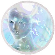 Round Beach Towel featuring the digital art Ethereal Spirit by Shadowlea Is