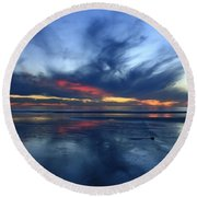 Round Beach Towel featuring the photograph Ethereal Beach Blues by John F Tsumas