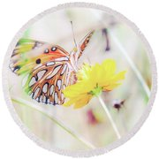 Round Beach Towel featuring the photograph Ethereal Butterfly by Andrea Anderegg