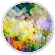 Ethereal Flowers Round Beach Towel