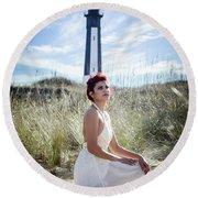 Ethereal Gaze Round Beach Towel by Stefanie Silva