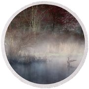 Round Beach Towel featuring the photograph Ethereal Goose by Bill Wakeley