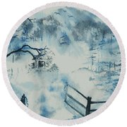Ethereal Morning  Round Beach Towel