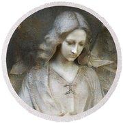 Ethereal Spiritual Stone Textured Angel In Prayer Round Beach Towel