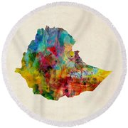 Round Beach Towel featuring the digital art Ethiopia Watercolor Map by Michael Tompsett