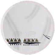 Ethnic Rhino Round Beach Towel