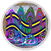 Ethnic Wedding Decorations Abstract Usring Fabrics Ribbons Graphic Elements Round Beach Towel by Navin Joshi