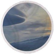 Etna Clouds Round Beach Towel