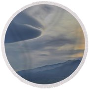 Etna Clouds Round Beach Towel