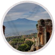 Etna From The Greek Theater Round Beach Towel