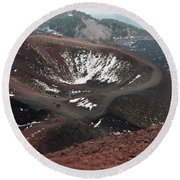 Etna, Red Mount Crater Round Beach Towel