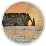 Etretat, Sunset  Round Beach Towel