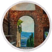 Round Beach Towel featuring the photograph Etruscan Arch by Hanny Heim