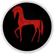 Etruscan Horse Round Beach Towel