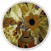 Round Beach Towel featuring the painting Etrusian Vase With Flowers by Odilon Redon
