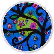 Round Beach Towel featuring the painting Etz Chayim by Pristine Cartera Turkus