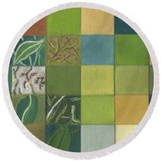 Round Beach Towel featuring the painting Euca Abstract by Kerryn Madsen - Pietsch