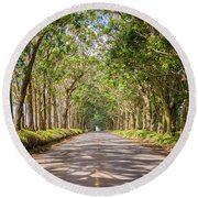 Eucalyptus Tree Tunnel - Kauai Hawaii Round Beach Towel by Brian Harig
