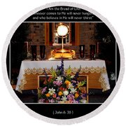 Eucharist I Am The Bread Of Life Round Beach Towel