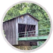 Euharlee Creek Covered Bridge Round Beach Towel