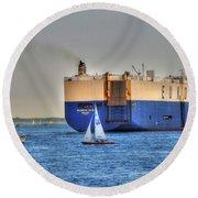 Round Beach Towel featuring the photograph Eukor Car Carrier Ship - Boston Harbor by Joann Vitali