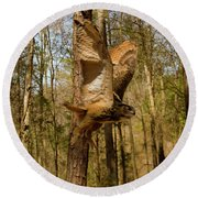 Eurasian Eagle Owl In Flight Round Beach Towel