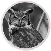 Eurasian Eagle Owl Monochrome Round Beach Towel