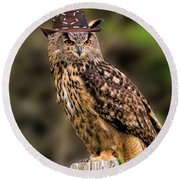 Eurasian Eagle Owl With A Cowboy Hat Round Beach Towel