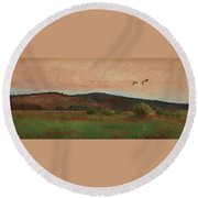 Eurasian Woodcocks Round Beach Towel