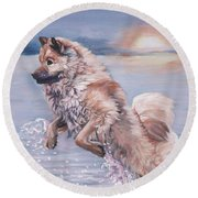 Eurasier In The Sea Round Beach Towel