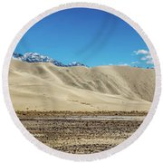 Round Beach Towel featuring the photograph Eureka Dunes - Death Valley by Peter Tellone