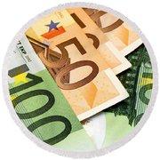 Euro Banknotes Round Beach Towel