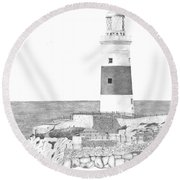 Europa Point Lighthouse Round Beach Towel