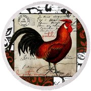 Europa Rooster II Round Beach Towel by Mindy Sommers