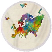 Europe Continent Watercolor Map Round Beach Towel