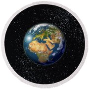 Europe, England, Middle East, North Africa As Seen From Space  Round Beach Towel