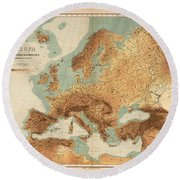 Europe - Geological Map Showing Land And Water Resources - Historical Map - Antique Relief Map Round Beach Towel