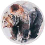 European Brown Bear Round Beach Towel