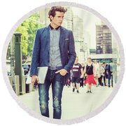 European College Student Studying In New York Round Beach Towel