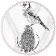 European Goldfinch Round Beach Towel by Patricia Hiltz