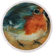 Round Beach Towel featuring the painting European Robin 2 by Jani Freimann