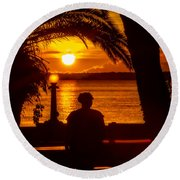 Round Beach Towel featuring the photograph Eustis Sunset by Christopher Holmes