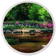 Eutopia At The Muskogee Azalea Festival Round Beach Towel by Tamyra Ayles